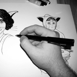 Drafting in pen and ink