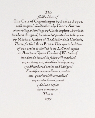 James Joyce's 'The Cats of Copenhagen' (Ithys Press, 2012) Colophon Detail