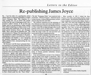 Times Literary Supplement, Letters to the Editor, 5 March 1993.