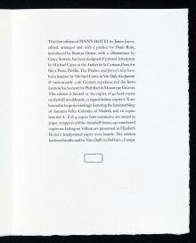 The Colophon, FINN'S HOTEL (Ithys Press, 2013)