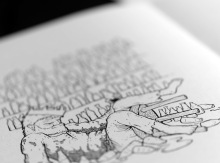 Close-up of Casey Sorrow's illustration for 'The House of a Hundred Bottles' in 'Finn's Hotel'.