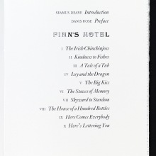 Table of Contents, FINN'S HOTEL (Ithys Press, 2013)